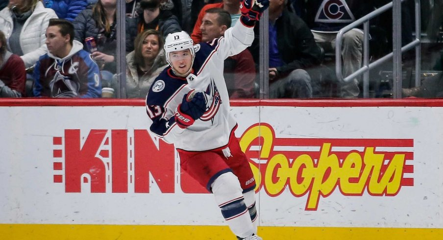 Cam Atkinson celebrates after his goal against the Colorado Avalanche at the Pepsi Center