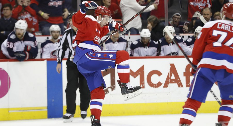 Evgeny Kuznetsov celebrates a goal against the Columbus Blue Jackets