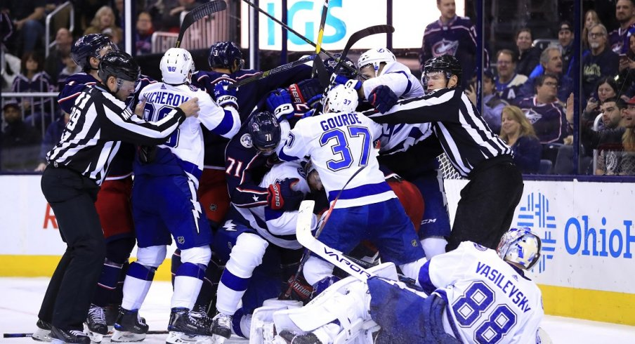 The Blue Jackets and Lightning get in a scuffle after the two sides