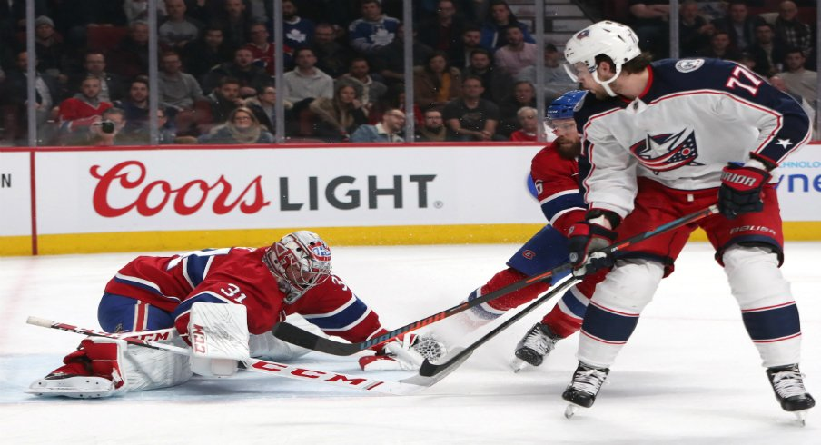 Josh Anderson of the Columbus Blue Jackets sees his shot saved by Carey Price of the Montreal Canadiens.