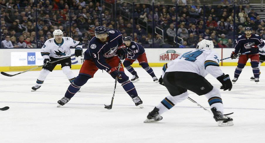 Columbus Blue Jackets defenseman Seth Jones (3) receives a pass as San Jose Sharks defenseman Dylan DeMelo (74) defends during the second period at Nationwide Arena.