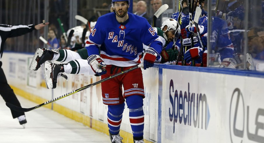Defenseman Adam McQuaid was acquired by the Columbus Blue Jackets from the New York Rangers ahead of the NHL trade deadline.