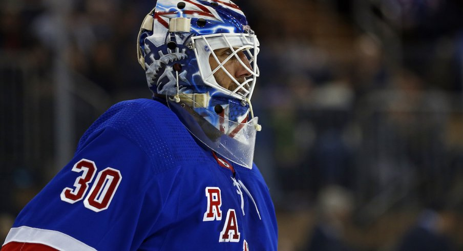 New York Rangers goaltender Henrik Lundqvist (30) reacts against the Minnesota Wild during the first period at Madison Square Garden.