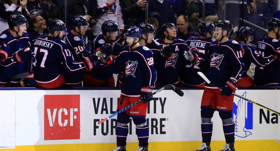 Columbus Blue Jackets right wing Oliver Bjorkstrand (28) celebrates with teammates after scoring a goal against the Philadelphia Flyers in the first period at Nationwide Arena.