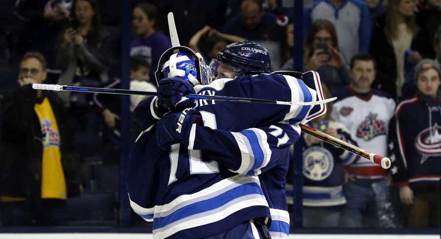Nick Foligno and Sergei Bobrovsky hug it out to the Airwolf theme, apparently.