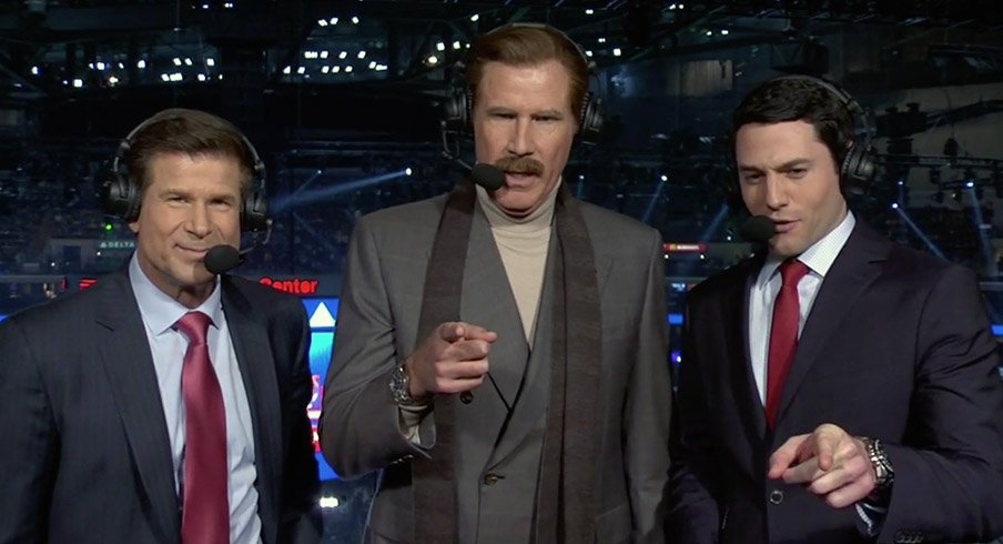 Ron Burgundy shows up at a Los Angeles Kings game.