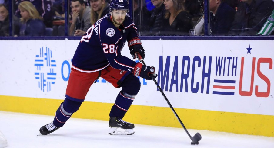 Feb 18, 2019; Columbus, OH, USA; Columbus Blue Jackets right wing Oliver Bjorkstrand (28) against the Tampa Bay Lightning at Nationwide Arena.