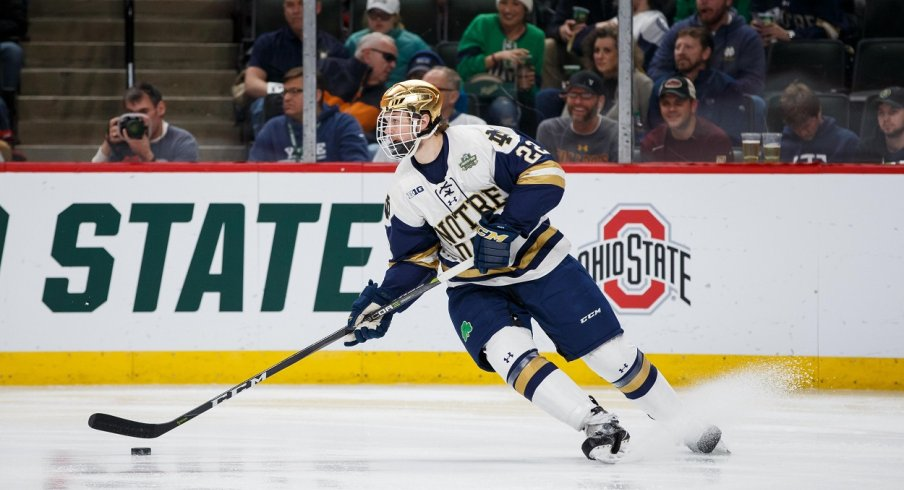 Andrew Peeke skates up the ice for the Notre Dame Fighting Irish during the 2018 NCAA Tournament.