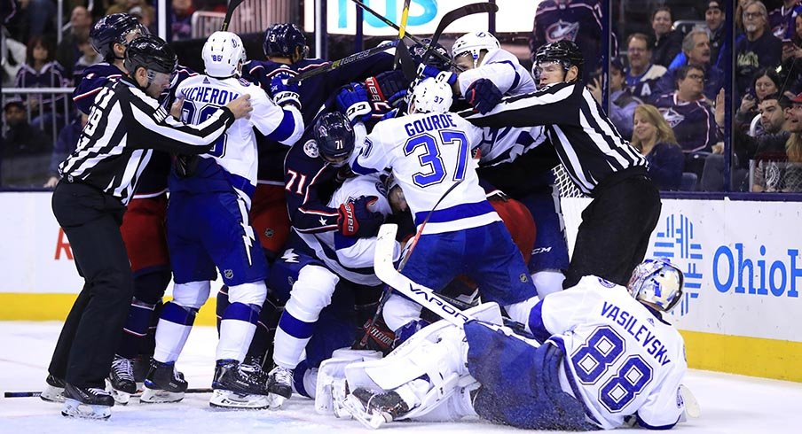 Things get chippy between the Columbus Blue Jackets and Tampa Bay Lightning at Nationwide Arena on Feb. 18, 2019.