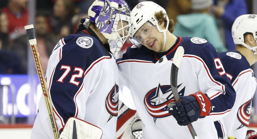 Sergei Bobrovsky and Artemi Panarin were on the trade block all season, but their performances against the New York Rangers last night in a shootout showed why the club made the right move, for now, to keep them.