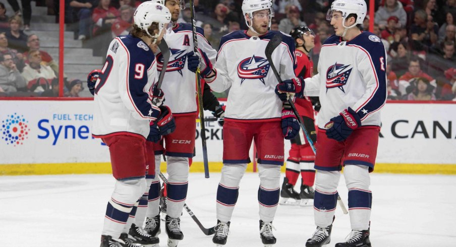 The Blue Jackets scored three goals in the opening period to set the pace for a victory over the Ottawa Senators.