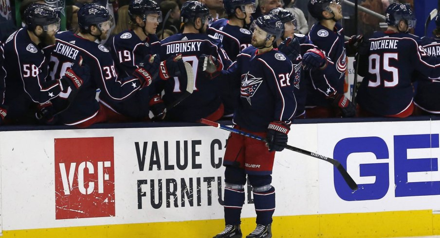 Apr 2, 2019; Columbus, OH, USA; Columbus Blue Jackets right wing Oliver Bjorkstrand (28) celebrates a goal during the third period against the Boston Bruins at Nationwide Arena.