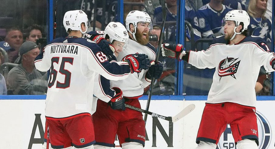 David Savard celebrates a goal for the Columbus Blue Jackets against the Tampa Bay Lightning in Game 1 of the 2019 NHL Stanley Cup Playoffs