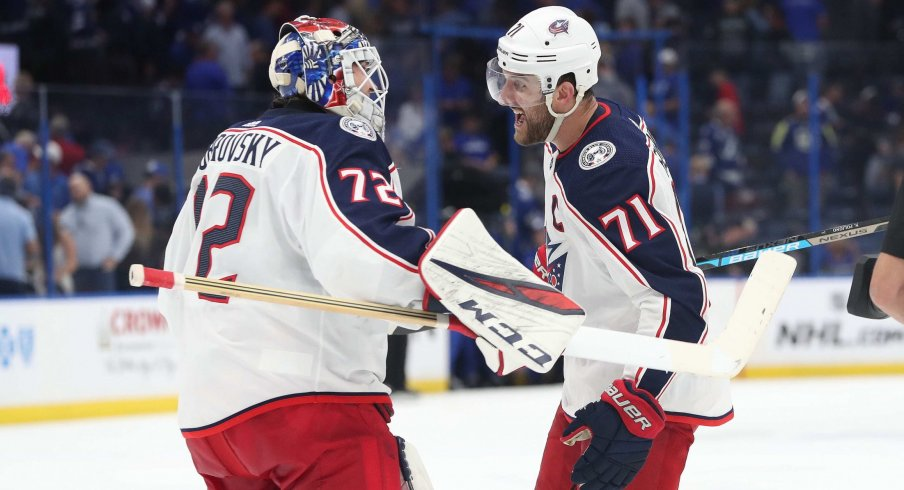 Sergei Bobrovsky stopped 14 shots in a row to beat the Tampa Bay Lightning after letting in three goals on his first 12 shots against.
