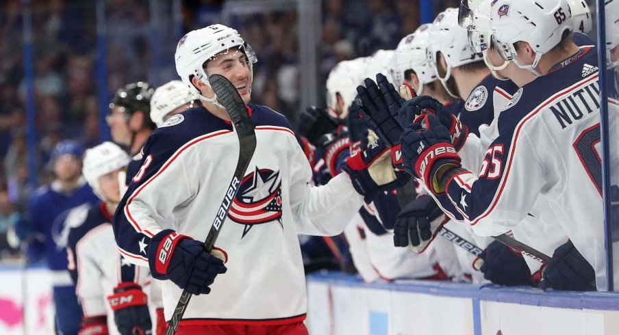 Columbus Blue Jackets defenseman Zach Werenski celebrates a first period power play goal in Game 2 against the Tampa Bay Lightning.