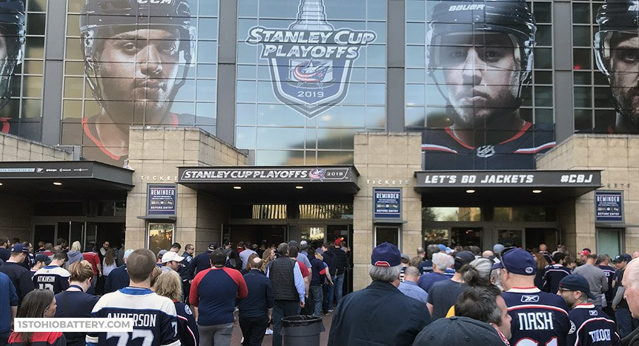 Fans stream into Nationwide Arena for Game 4 of the Blue Jackets' first round series with the Tampa Bay Lightning.