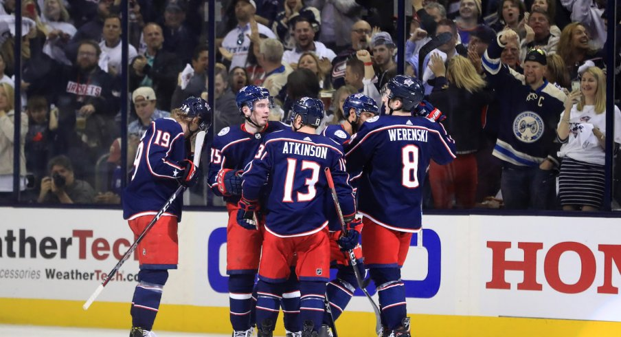 The Columbus Blue Jackets celebrate a power play goal by Oliver Bjorkstrand in the Stanley Cup Playoffs at Nationwide Arena.
