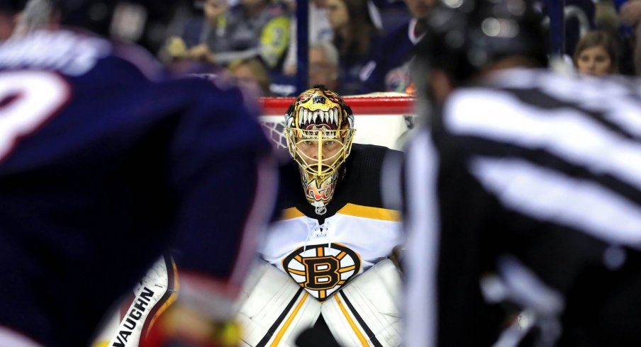 Boston Bruins goaltender Tuukka Rask (40) awaits the face-off against the Columbus Blue Jackets in the first period during game four of the second round of the 2019 Stanley Cup Playoffs at Nationwide Arena.