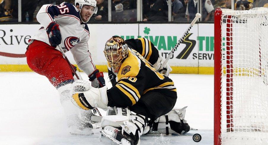 Matt Duchene hits the post against Boston Bruins goaltender Tuukka Rask in Game 5 at TD Garden.