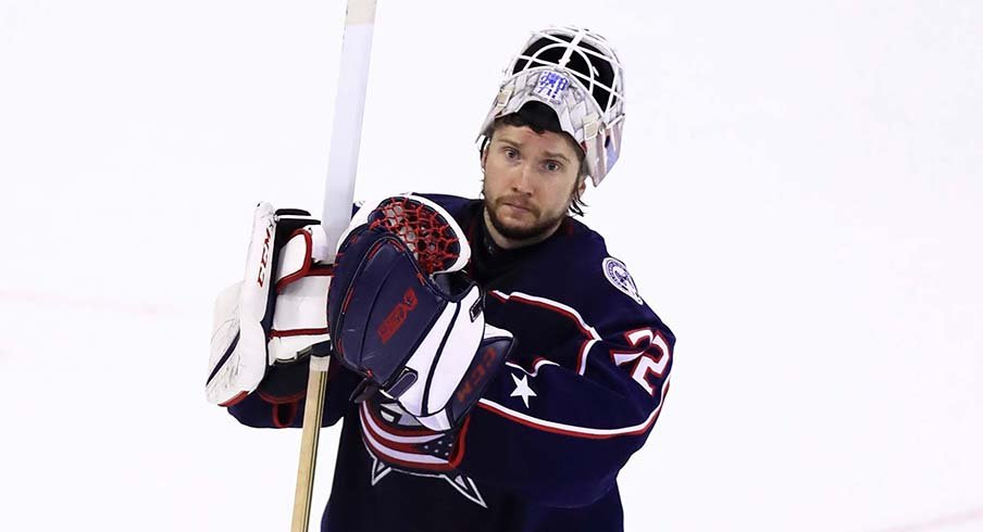 Sergei Bobrovsky acknowledges fans following his team's loss to the Boston Bruins Monday night.