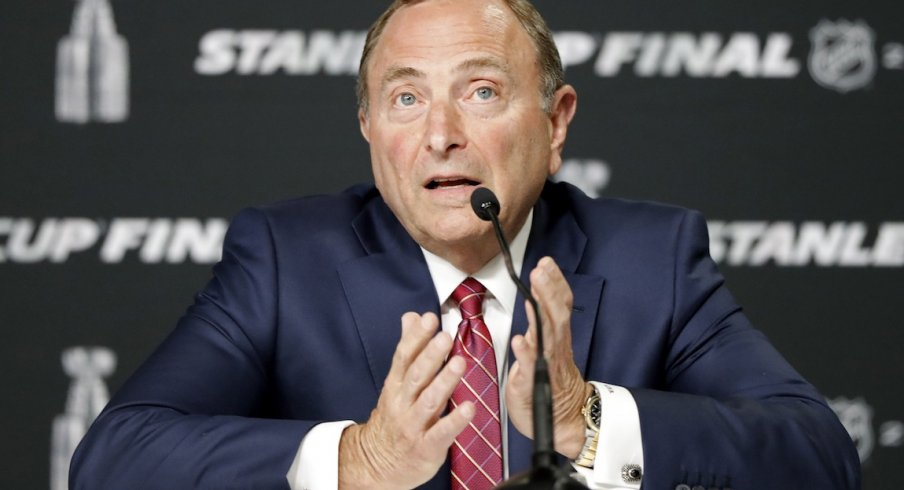 NHL commissioner Gary Bettman speaks at a press conference before game one of the 2019 Stanley Cup Final between the Boston Bruins and the St. Louis Blues at TD Garden.