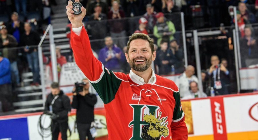 Columbus Blue Jackets broadcaster Jody Shelley visits with his old junior club, the Halifax Mooseheads.
