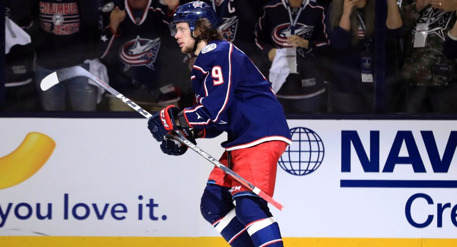 Columbus Blue Jackets forward Artemi Panarin glides on the ice at Nationwide Arena during the second round of the 2019 Stanley Cup Playoffs