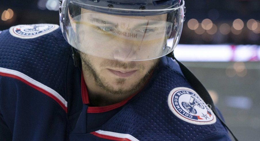 Columbus Blue Jackets defenseman Ryan Murray (27) looks on during warmups before a game against the Toronto Maple Leafs at Nationwide Arena.