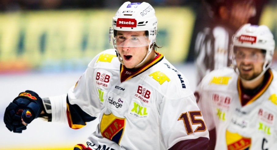 Jakob Lilja celebrates a goal in the SHL