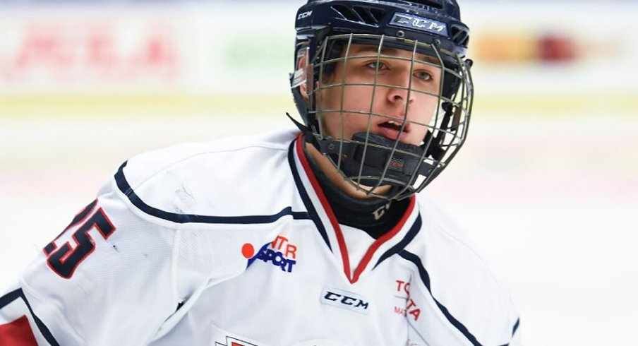Eric Hjorth skates up the ice for his team Linkoping