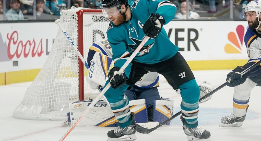 San Jose Sharks center Joe Pavelski (8) controls the puck against the St. Louis Blues during the second period in Game 5 of the Western Conference Final of the 2019 Stanley Cup Playoffs at SAP Center at San Jose.