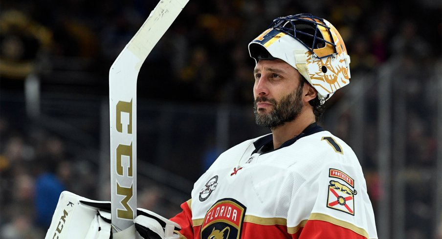Mar 30, 2019; Boston, MA, USA; Florida Panthers goaltender Roberto Luongo (1) skates during a time out in the third period against the Boston Bruins at the TD Garden.