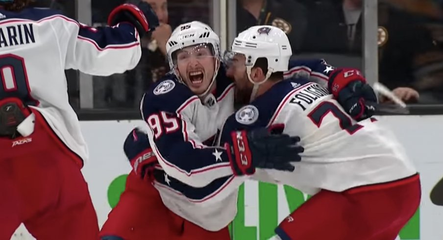 Matt Duchene scored the overtime winner of Game 2 in the second round of the 2019 Stanley Cup Playoffs against the Boston Bruins