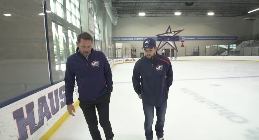 Jody Shelley skates around the Ice Haus with Blue Jackets forward Emil Bemstrom