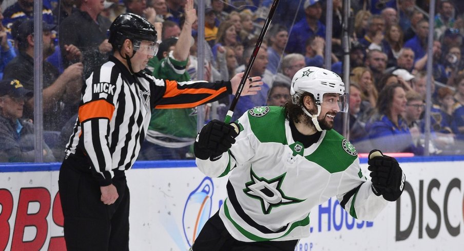 Dallas Stars center Mats Zuccarello (36) celebrates after scoring against St. Louis Blues goaltender Jordan Binnington (not pictured) during the first period in game seven of the second round of the 2019 Stanley Cup Playoffs at Enterprise Center.
