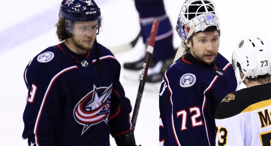Columbus Blue Jackets forward Artemi Panarin and goaltender Sergei Bobrovsky shake hands after losing in six game to the Bruins in the 2019 Stanley Cup Playoffs