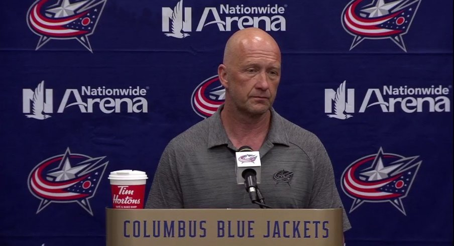 Jarmo Kekalainen talks to the press about free agency for the Columbus Blue Jackets in 2019