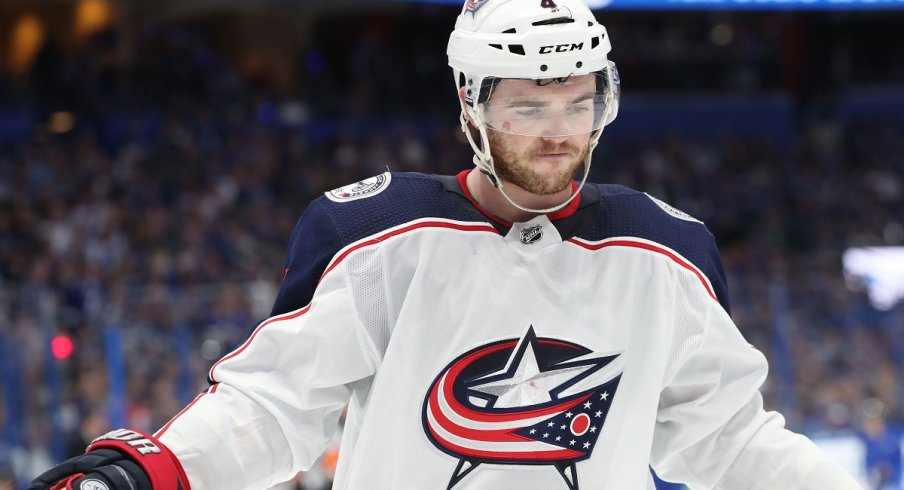 Scott Harrington plays against the Tampa Bay Lightning in the first round of the 2019 playoffs