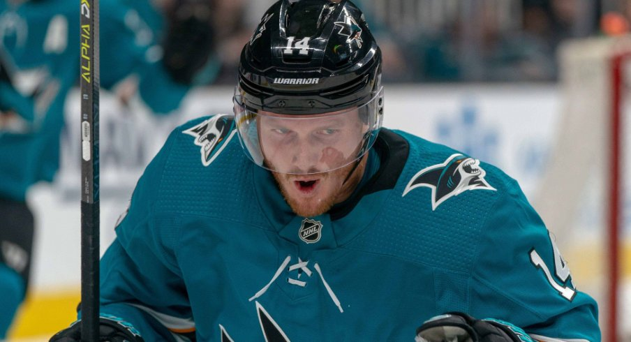 San Jose Sharks forward Gustav Nyquist celebrates after scoring a goal in the first game of the second round of the 2019 Stanley Cup Playoffs against the Colorado Avalanche
