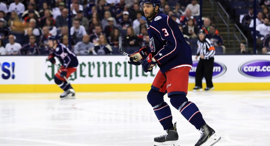 Seth Jones skates in game four of the first round of the 2019 Stanley Cup Playoffs at Nationwide Arena
