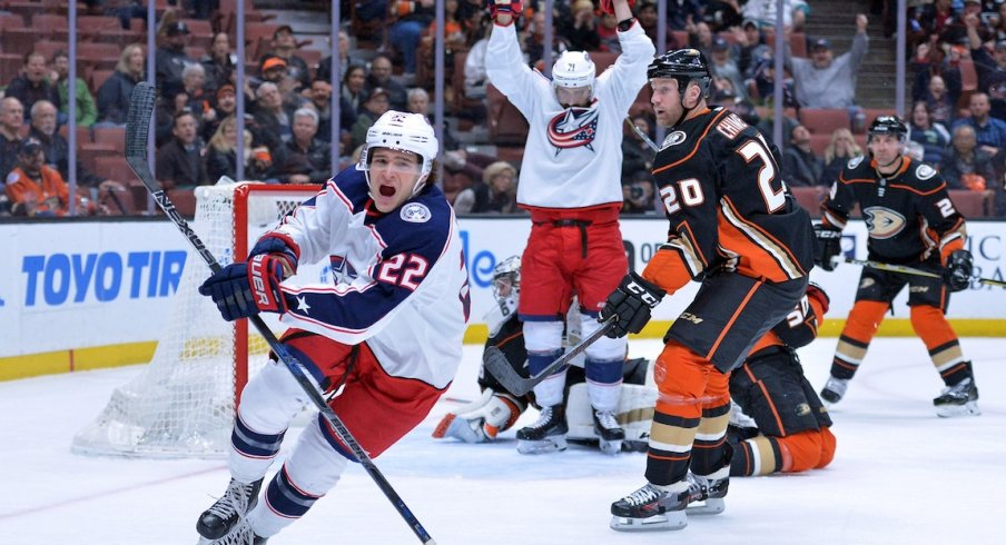 Columbus Blue Jackets left wing Sonny Milano (22) celebrates after scoring a first period goal against the Anaheim Ducks at Honda Center.