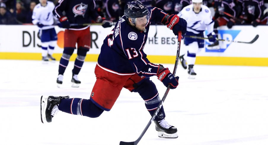 Apr 14, 2019; Columbus, OH, USA; Columbus Blue Jackets right wing Cam Atkinson (13) scores a goal on an empty net against the Tampa Bay Lightning during the third period in game three of the first round of the 2019 Stanley Cup Playoffs at Nationwide Arena.