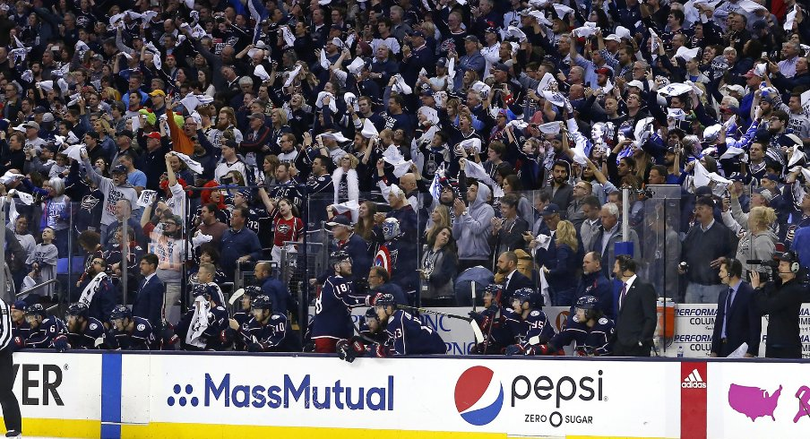 The fans at Nationwide Arena show their support for the Columbus Blue Jackets during game three of their second-round matchup against the Boston Bruins in the 2019 Stanley Cup Playoffs.
