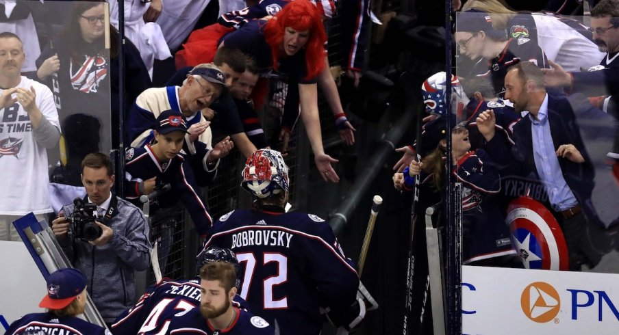 Columbus Blue Jackets goaltender Sergei Bobrovsky (72) acknowledges fans as he leaves the ice after being defeated by the Boston Bruins in game six of the second round of the 2019 Stanley Cup Playoffs at Nationwide Arena.