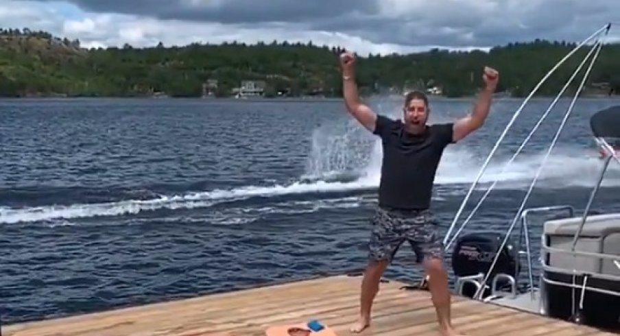 Brandon Dubinsky celebrates after throwing a perfect football to Josh Anderson.