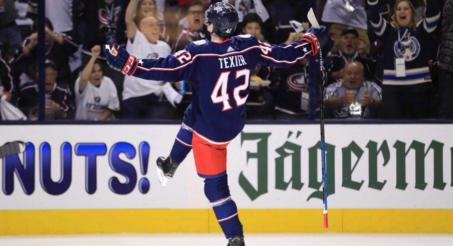 Apr 16, 2019; Columbus, OH, USA; Columbus Blue Jackets center Alexandre Texier (42) celebrates scoring a goal against the Tampa Bay Lightning in the first period during game four of the first round of the 2019 Stanley Cup Playoffs at Nationwide Arena.