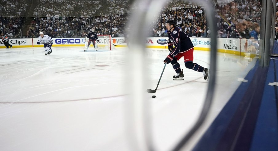 Columbus Blue Jackets defenseman Zach Werenski (8) against the Tampa Bay Lightning in game four of the first round of the 2019 Stanley Cup Playoffs at Nationwide Arena.
