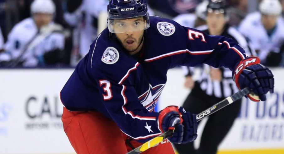 Columbus Blue Jackets defenseman Seth Jones makes a play at Nationwide Arena against the San Jose Sharks in February of 2019.