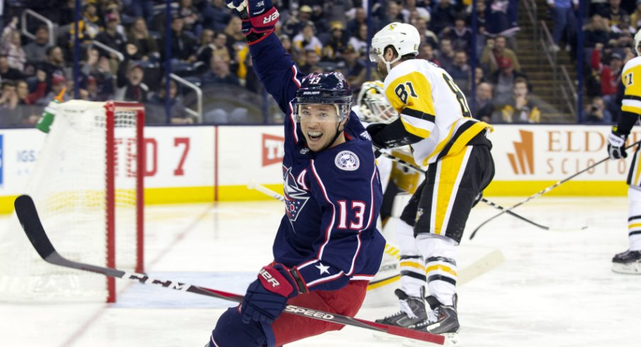 Columbus Blue Jackets forward Cam Atkinson celebrates after scoring a goal against the Pittsburgh Penguins at Nationwide Arena in March of 2019.