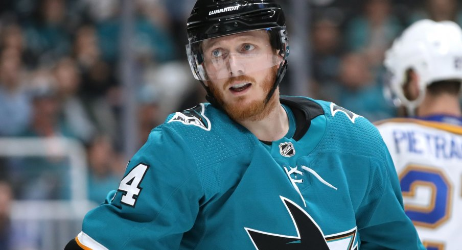 San Jose Sharks center Gustav Nyquist (14) stands on the ice during the third period against the St. Louis Blues in Game 5 of the Western Conference Final of the 2019 Stanley Cup Playoffs at SAP Center at San Jose.